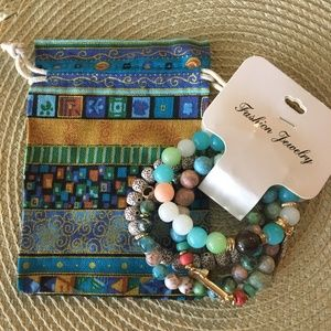 Jewelry - Multi-Color Stone Bead Bracelet w/Drawstring Pouch